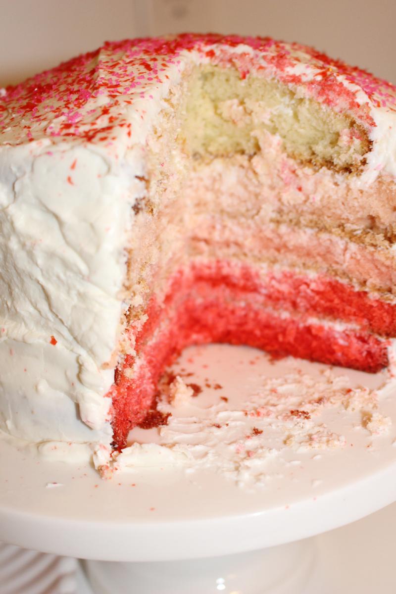 A Slice of Ombré, Cake, Valentines Day, Dessert, Sprinkles, Sur la table