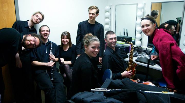 The GVSU New Music Ensemble backstage!