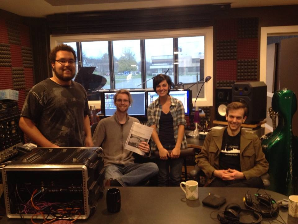 Left to right: Dutcher Snedeker (piano), John Jansen (composer), Ashley Stanely (flute), Kevin Flynn (cello)