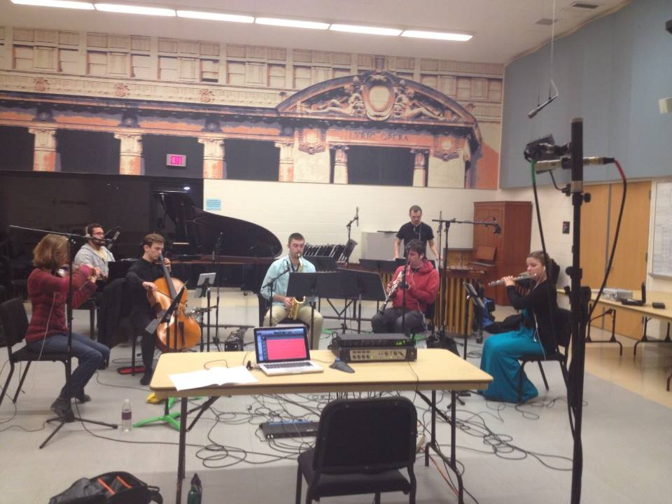 Recording with members of the Grand Valley State New Music Ensemble Left to Right: Krista Visnovsky, Dutcher Wright Snedeker, Kevin Flynn, Kevin Bays, Ian McIntyre, Wade Selkirk and Kaitlyn Huisjen.
