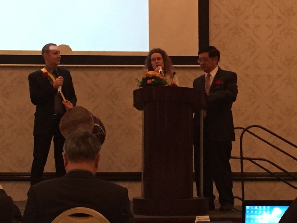 CT emceeing the Tung's Acupuncture 40th Memorial Conference in Los Angeles 2015.