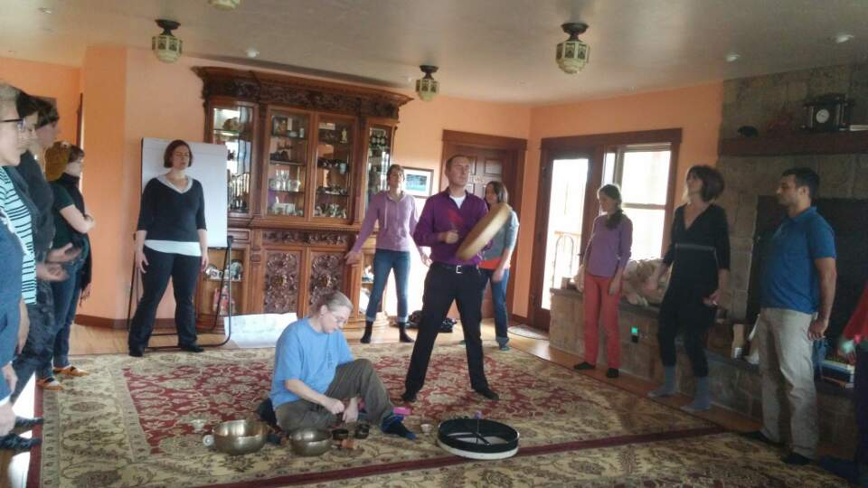 Music healing with Dr. Brenda Hood on Tibetan Singing bowls and CT on hand drums in Trout Lake, WA.