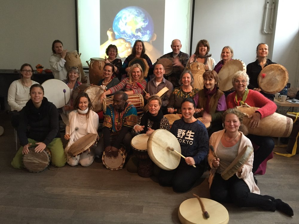 Participants of CT's shamanic drum course in Stockholm.