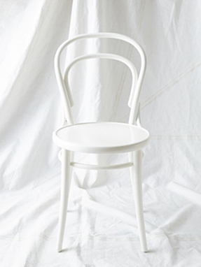 "CH006 - CH009 White painted Thonet chairs 34"" H x 16"" W x 19"" D $40/week each Set of 4"
