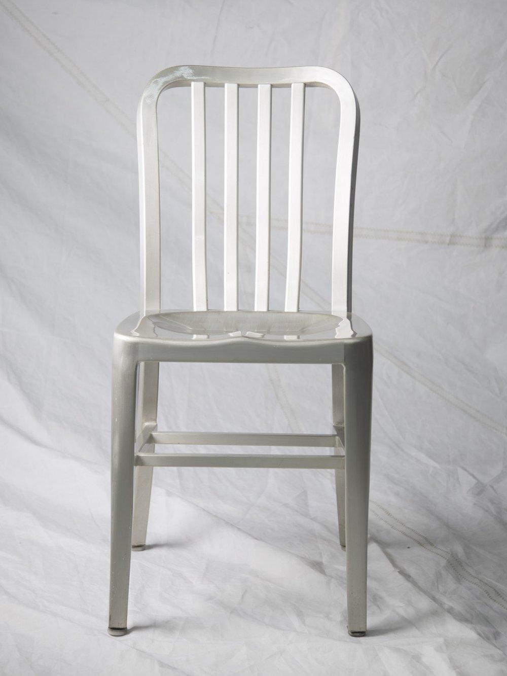 CH061  Vintage aluminum side chair  $75/week
