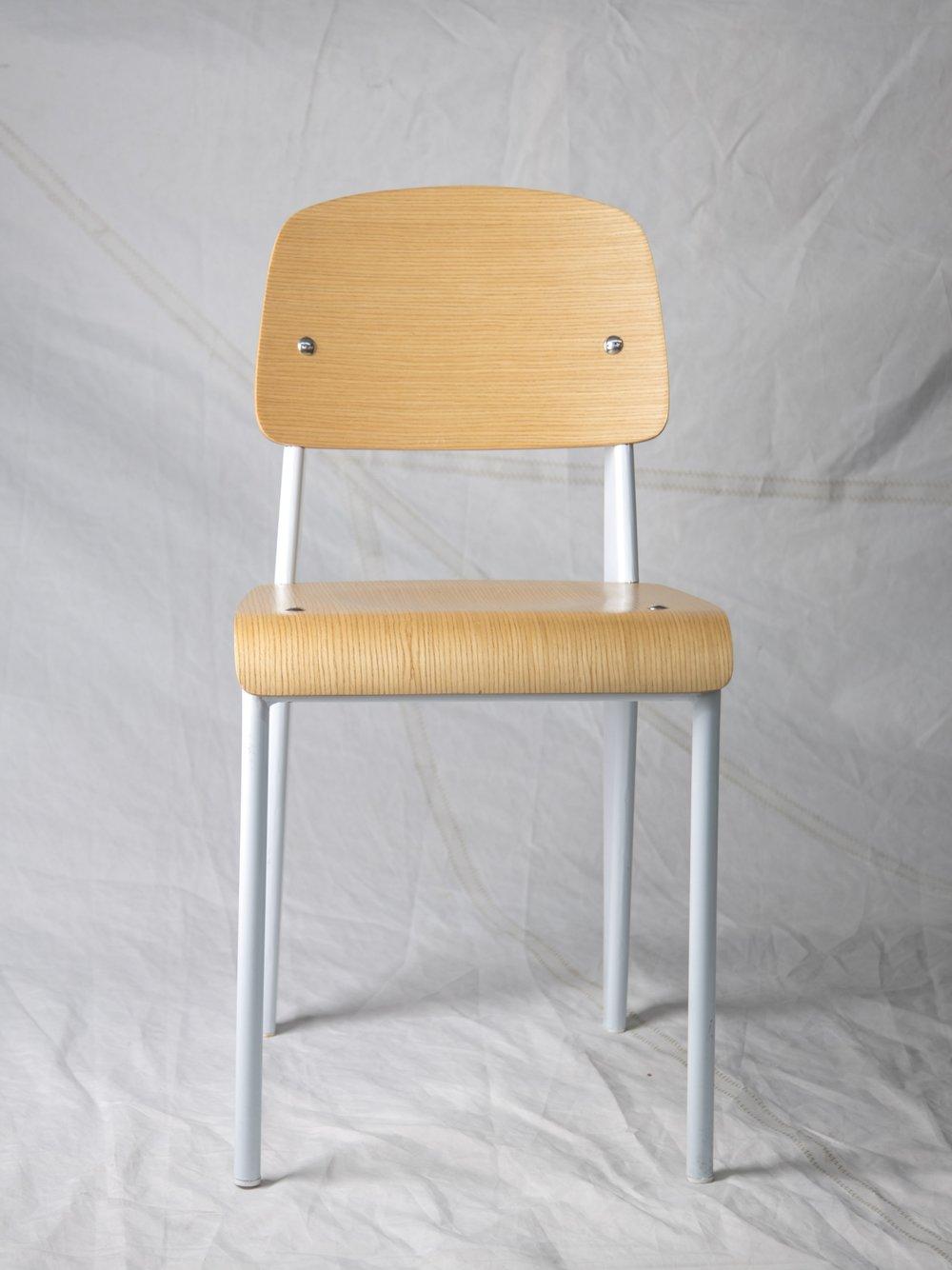 "CH056  Prouvé style chair, white/wood 32"" H x 16"" W x 19"" D  $100/week"