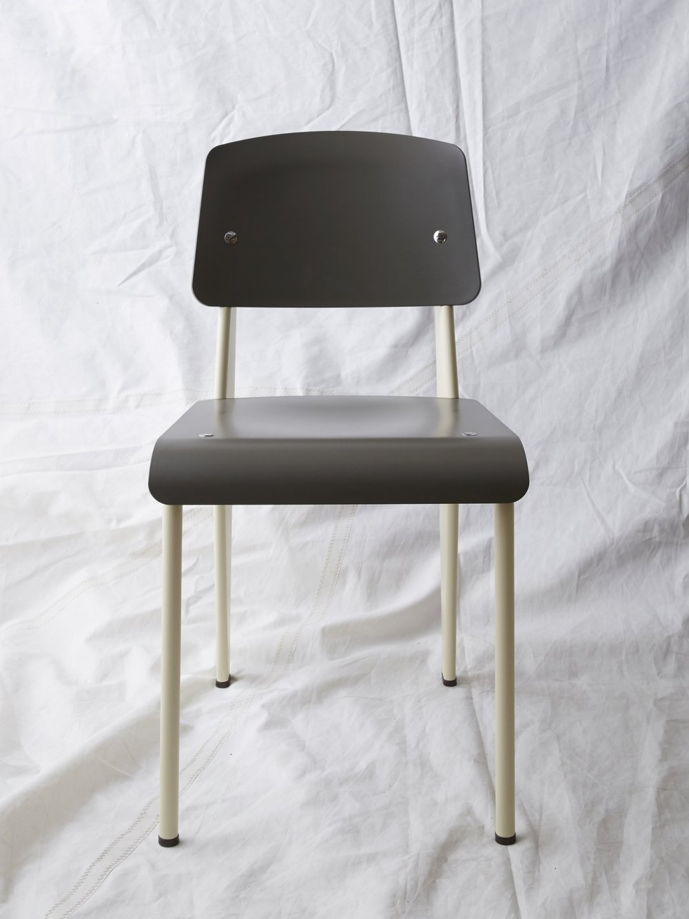 "CH028  Prouvé SP chair grey/cream 32"" H x 16"" W x 19"" D  $200/week"
