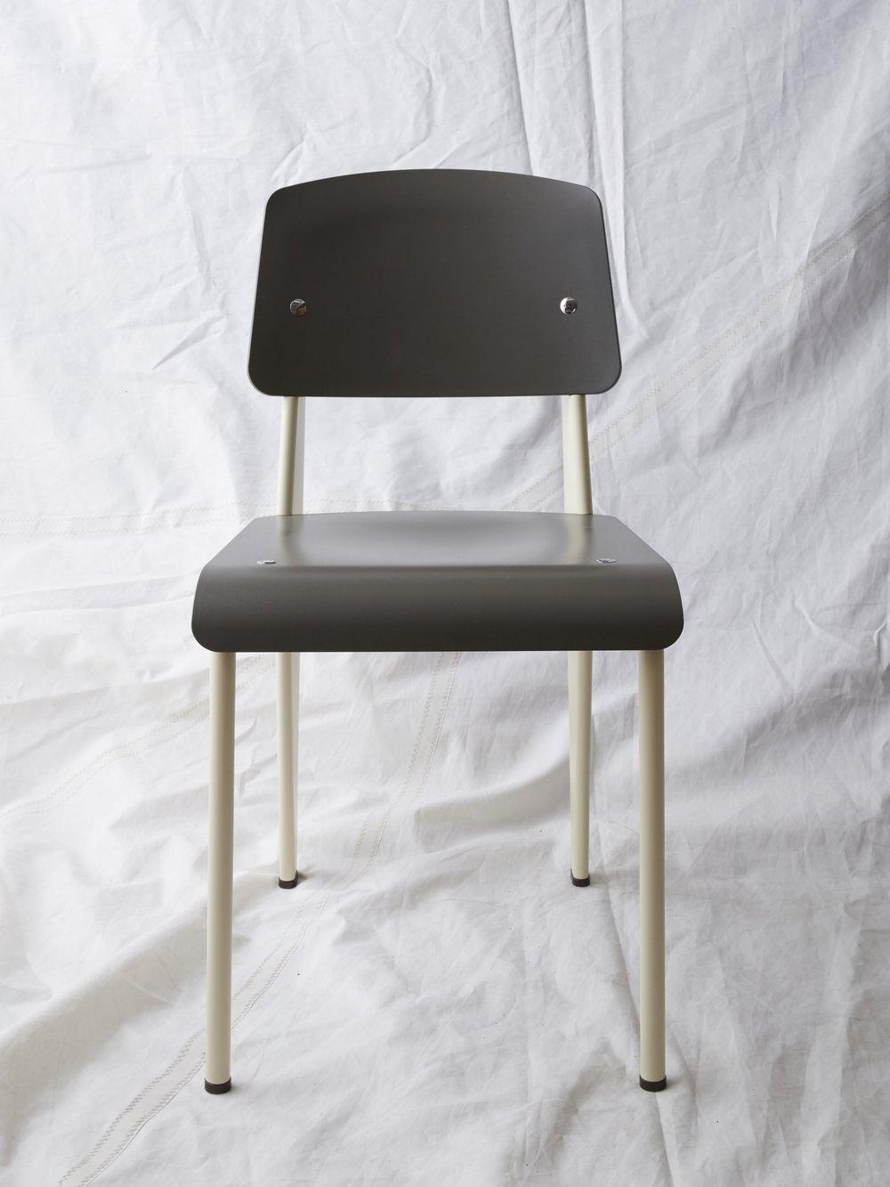 "CH028 Prouvé SP chair grey/cream 32"" H x 16"" W x 19"" D $200/week"