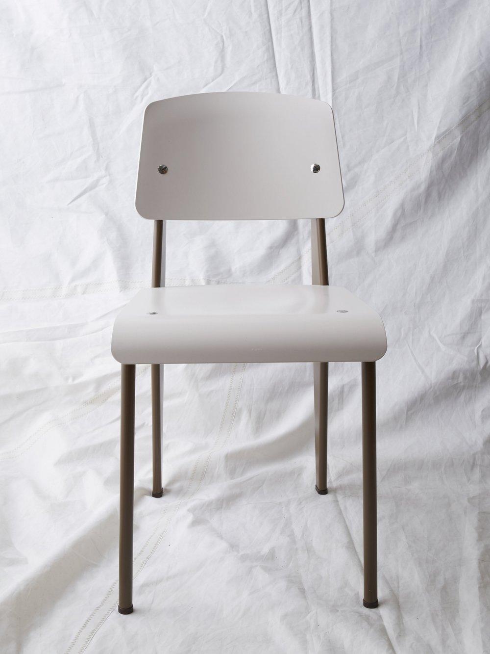"""CH025 Prouvé SP chair white/coffee 32"""" H x 16"""" W x 19"""" D $200/week"""