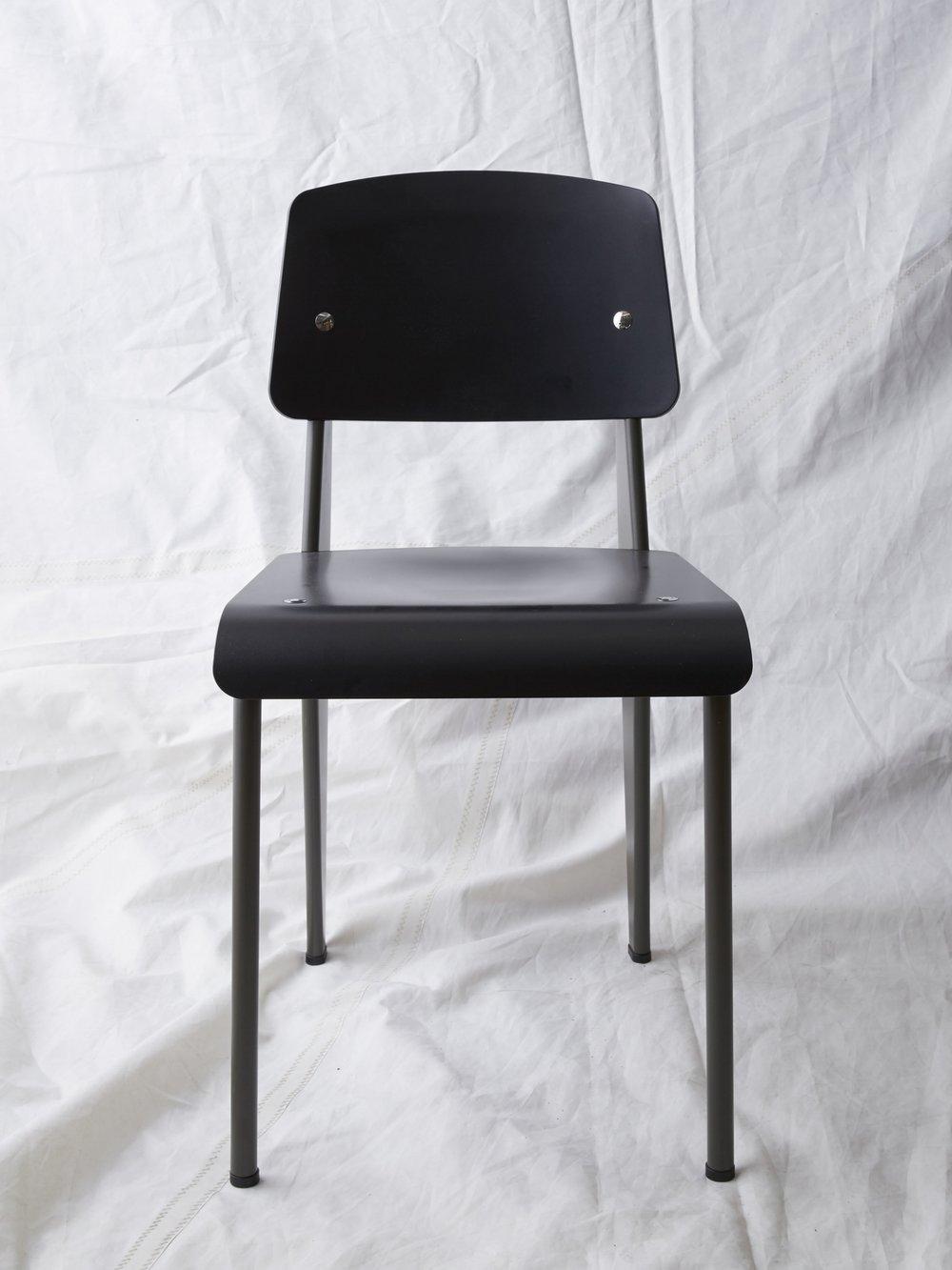 "CH026 Prouvé SP chair black/grey 32"" H x 16"" W x 19"" D $200/week"