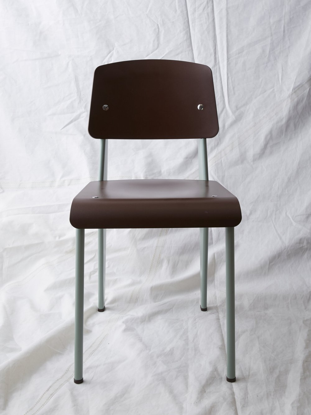 """CH027 Prouvé SP chair maroon/sage 32"""" H x 16"""" W x 19"""" D $200/week"""