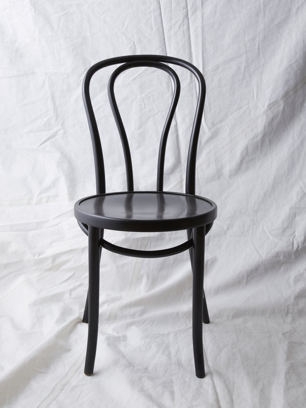 "CH022 Black painted Thonet chair 35"" H x 16"" W x 20"" D $75/week Set of 1"