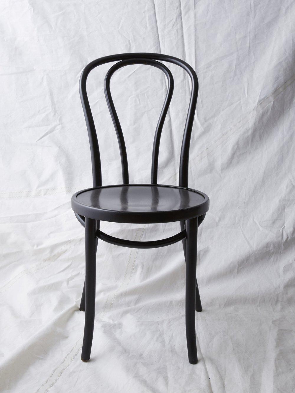 """CH022 Black painted Thonet chair 35"""" H x 16"""" W x 20"""" D $75/week"""