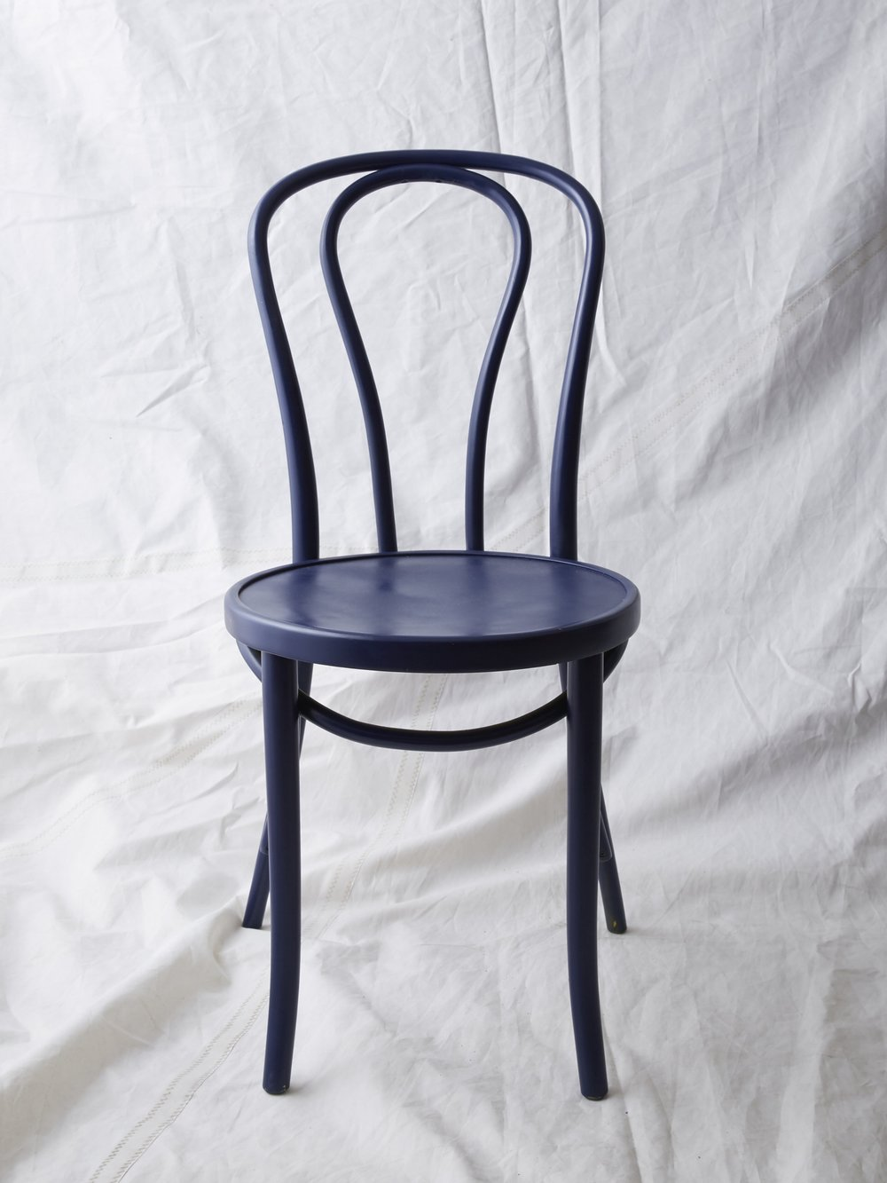 "CH023  Navy painted Thonet chair 35"" H x 16"" W x 20"" D  $75/week"