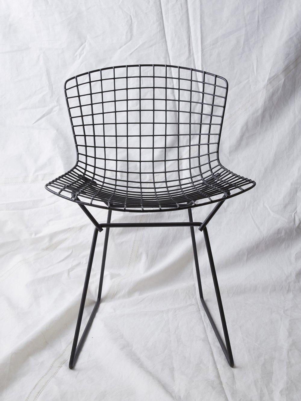 """CH015 Black vintage Bertoia side chair 29"""" H x 21"""" W x 22"""" D $75/week"""