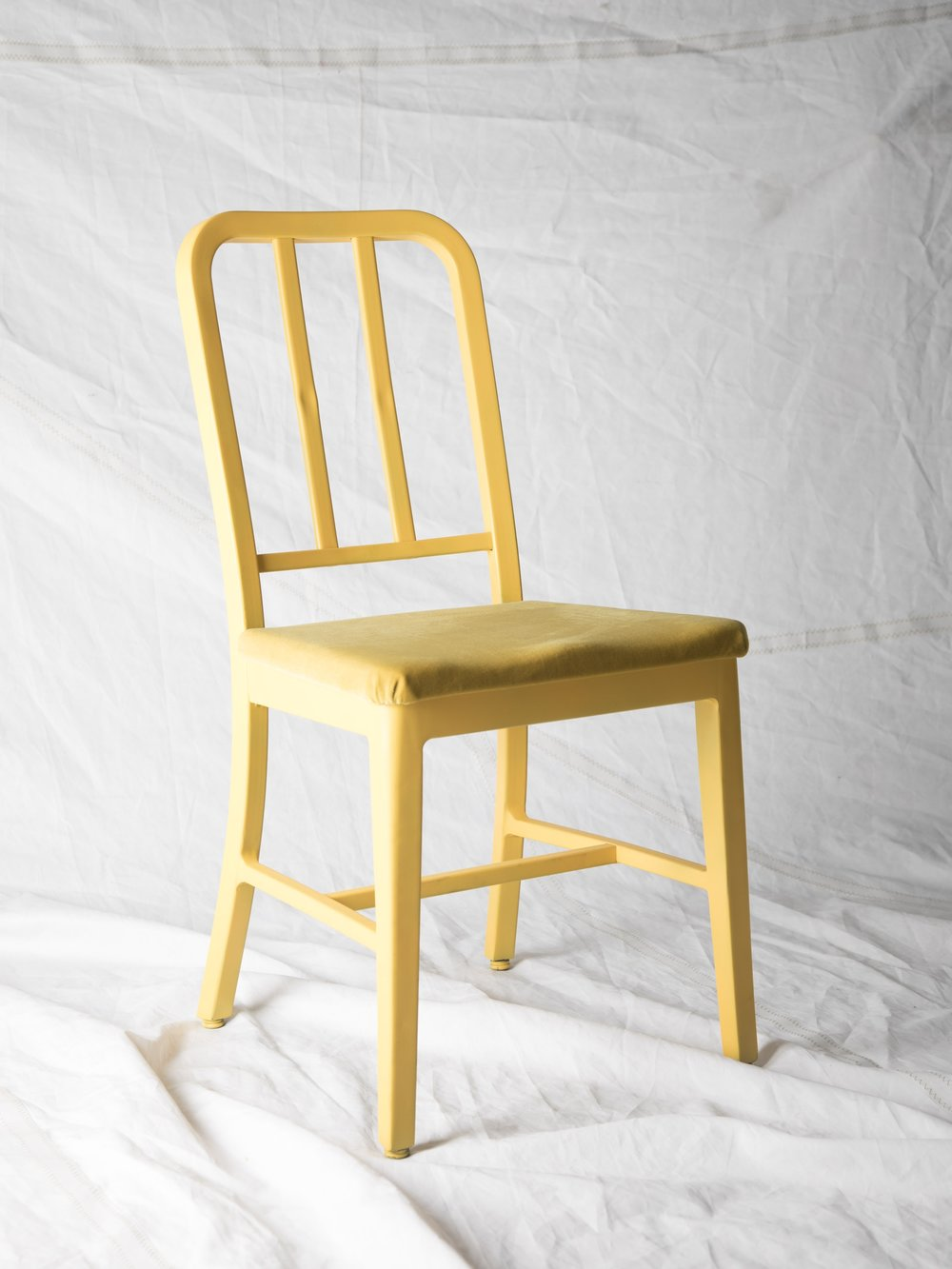 "CH032 Taxi yellow aluminum + velvet 34"" H x 16"" W x 20"" D $100/week Set of 1"