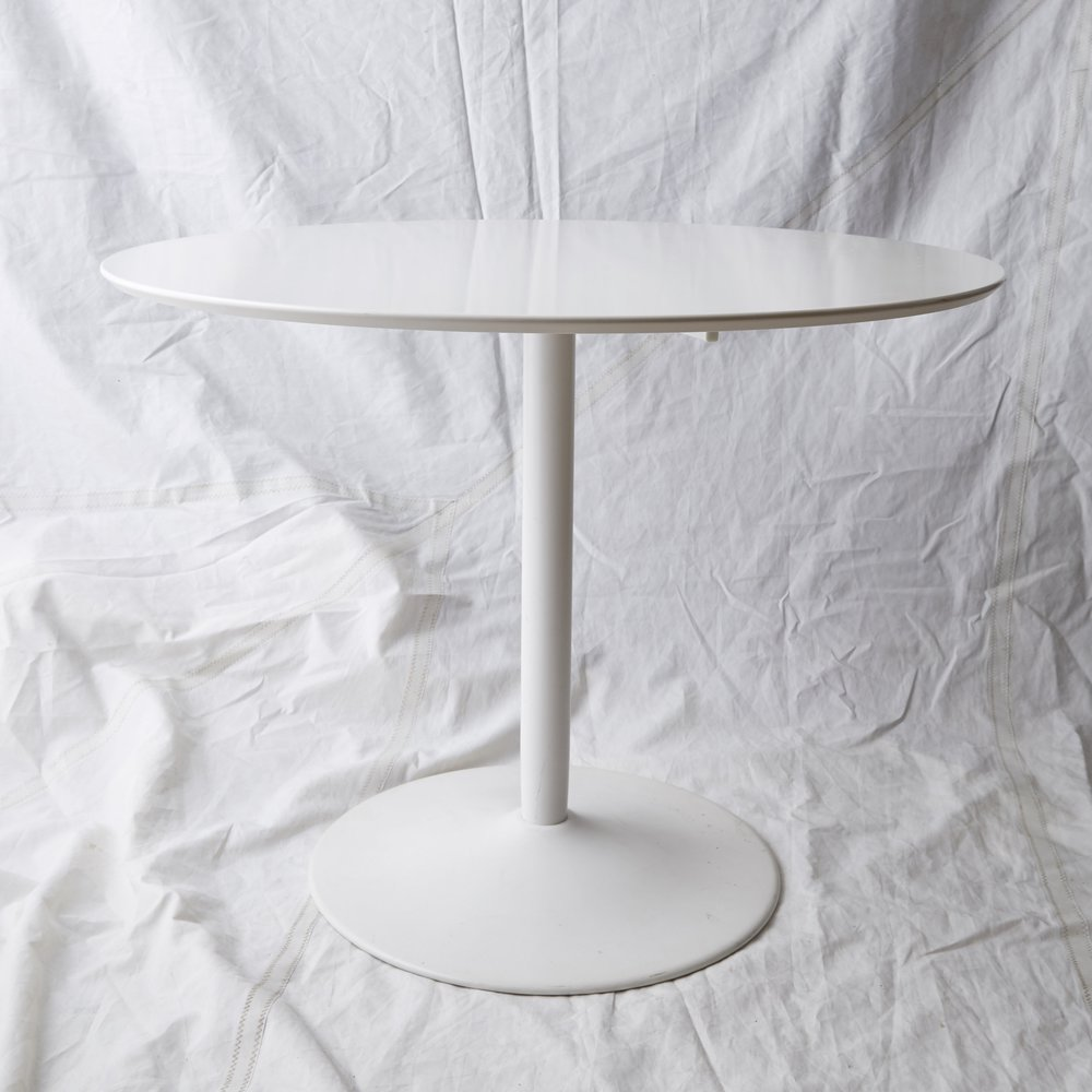 "TB013 WHITE ODYSSEY PEDESTAL TABLE 39"" DIA x 30"" H $150 / WEEK"
