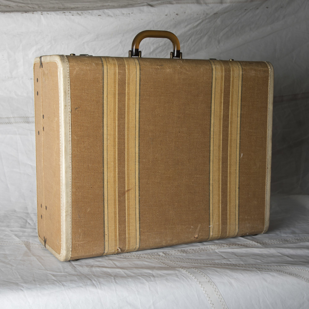 "LUGGAGE 07 TAN W/ STRIPE SUITCASE 21"" L x 17"" W x 8.5"" D"