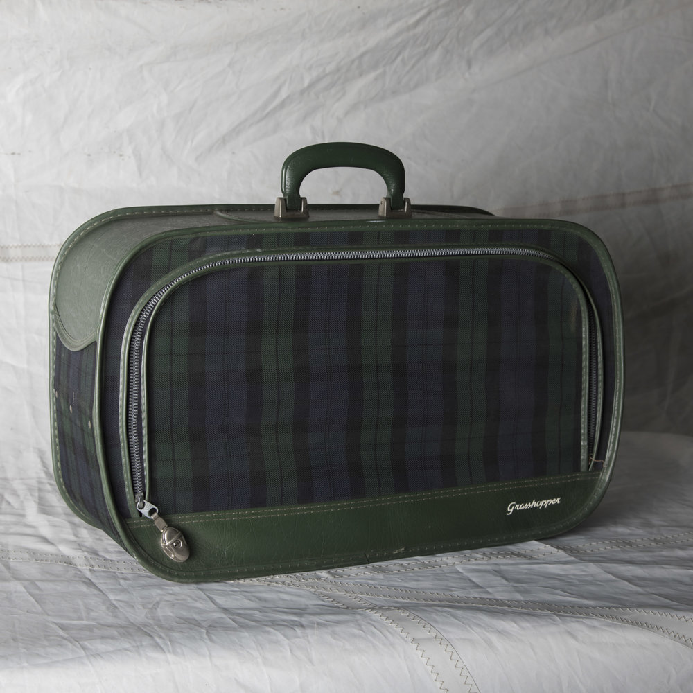 "LUGGAGE 13 GREEN & BLUE PLAID SOFT TOP SUITCASE 21"" L x 13"" W x 7.5"" D"