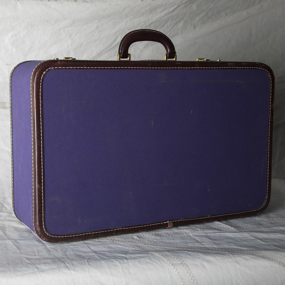 "LUGGAGE 14 PURPLE W/ BROWN SUITCASE 24.5"" L x 15.5"" W x 8"" D"