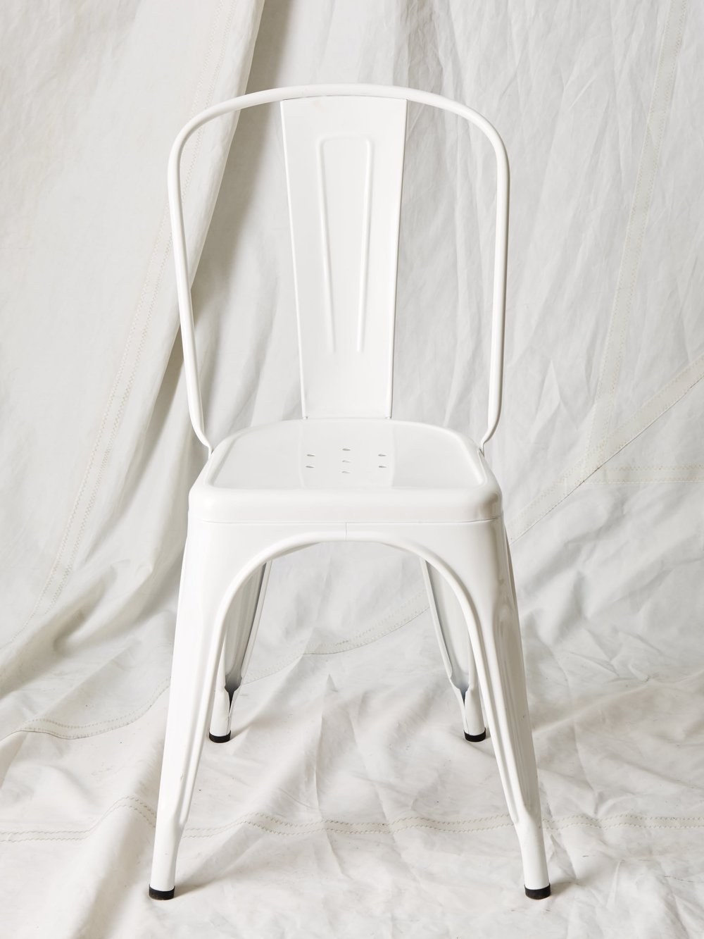"CH014  White Tolix chair 34"" H x 16"" W x 14"" D  $75/week"