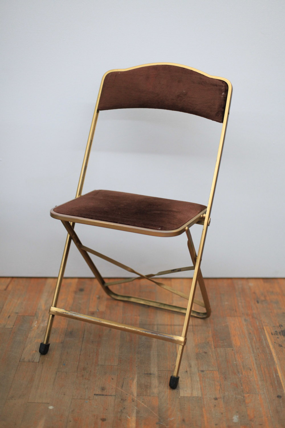 BROWN VELVET & GOLD FOLDING CHAIR  $60