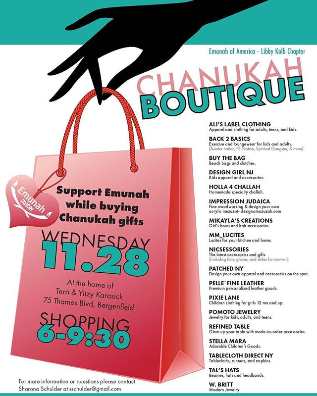 Stop by and say hi (and shop!)tomorrow evening 6-9:30 at the @emunahofamerica boutique in Bergenfeld, NJ! @sharonaschulder @terrikarasick #emunahofamerica #jewishlife #judaicagifts #judaicaart #chanukahboutique #hanukkahgifts #hanukkahshopping #chanukahgifts #holidaygifts #holidaygiftideas #holidayboutique #holidayshoppingmadeeasy #makeanimpression #impressionjudaica