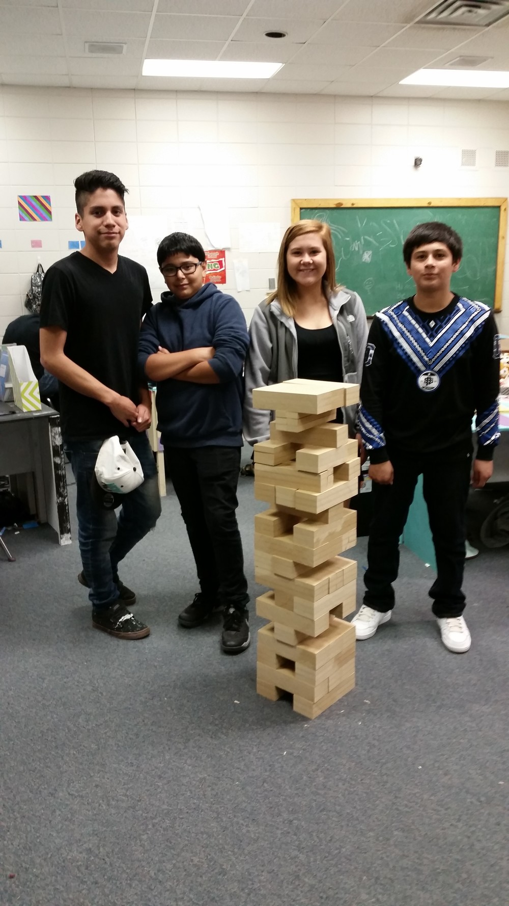 These CHOICE students built a giant Jenga game as one of their projects. With this they learned woodworking skills and applied math.