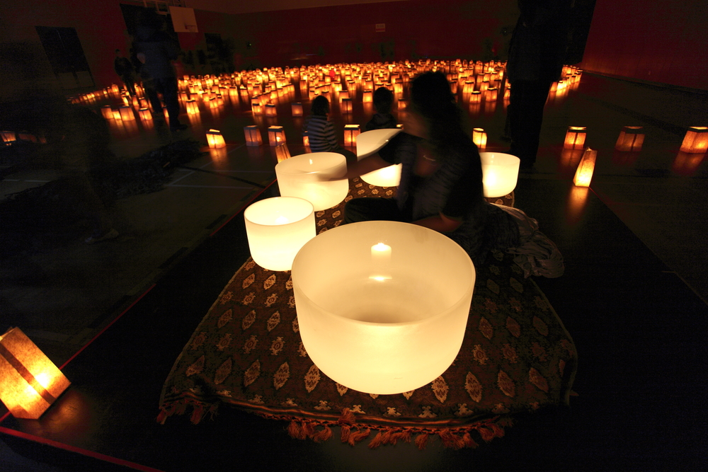 Lori Bella and her crystal singing bowls in the Labyrinth of Light