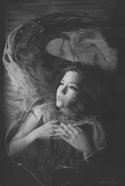 """Veiled Fortuna"", Charcoal and Pastel on Paper, 20 x 14 inches"