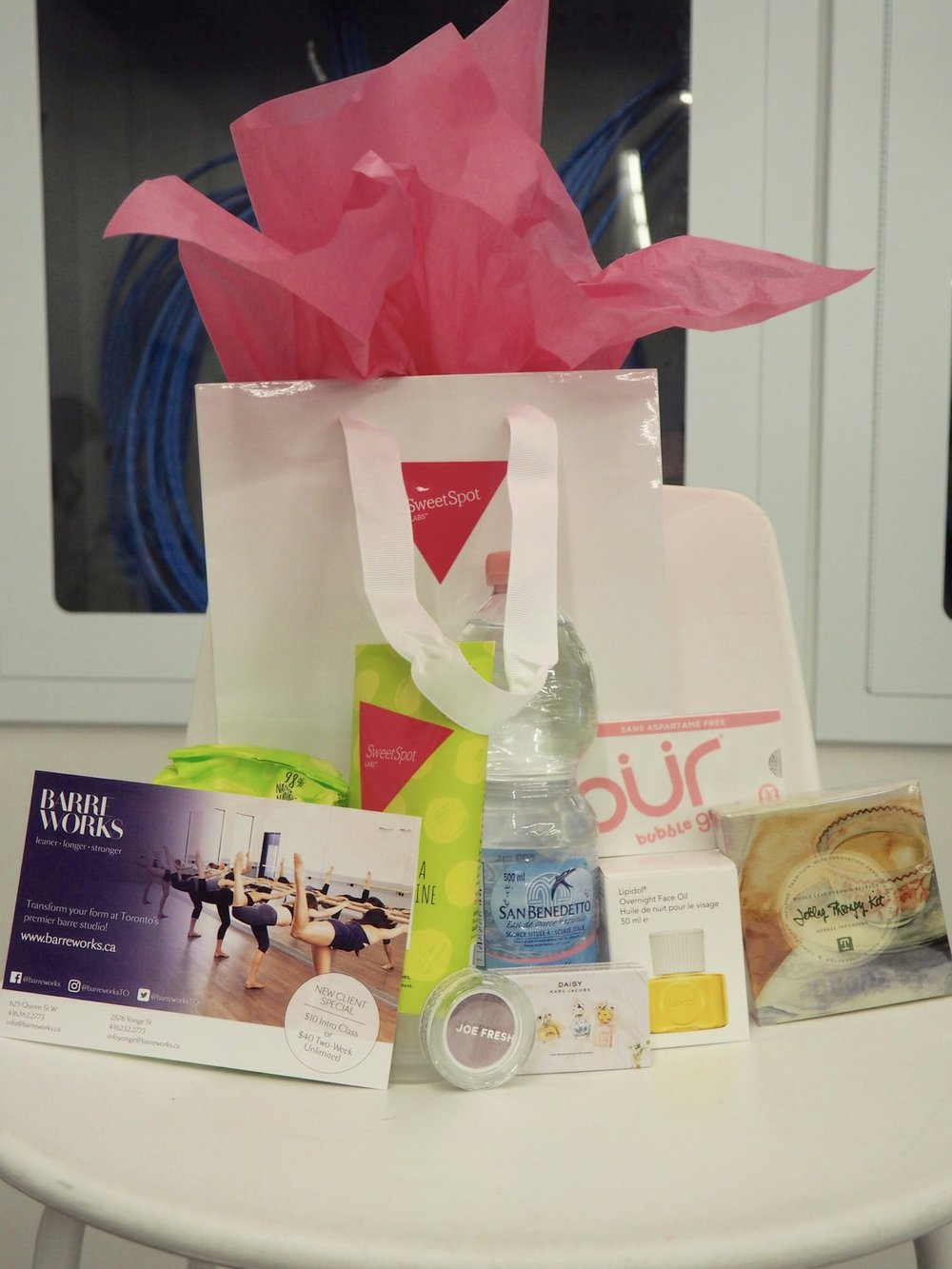 A Sneak Peek of our panelist's gift bags. Which featured all the items below, plus extra, full-sized goodies from SweetSpotLabs.ca (A Canadian & Women-owned company)