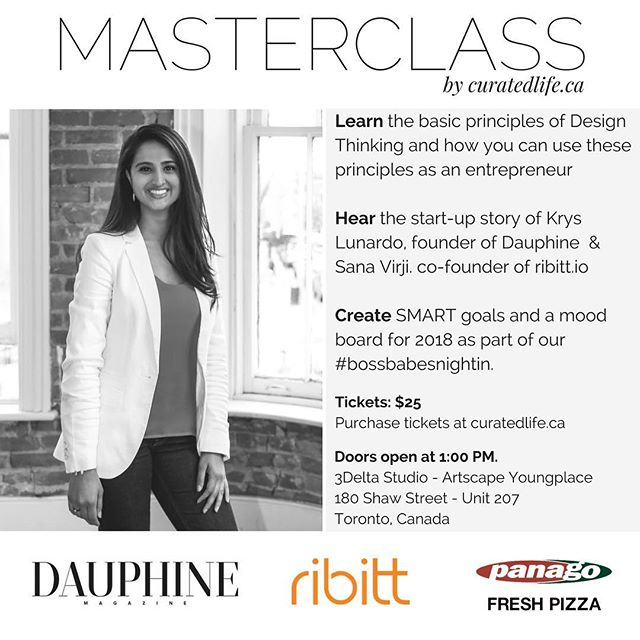 Who will be speaking at this Saturday's #MASTERCLASS? ✨✨ Meet Sana ✨✨ Sana co-founded Ribitt while studying at Trent University. The idea stemmed from a university challenge where she had $5 and 5 days to run a profitable project, that idea has now grown into a flourishing startup supporting local merchants. Since a young age she's been inspired by art and the ability to create things of value. Today, she brings her passion for design and creating experiences into every element of building her startup. Along with her business commitments, she serves on the board of the Women's Business Network in Peterborough to support and empower women to have a voice at every table. In her free time, you'll find Sana painting or enjoying unique culinary experiences! ... #girlboss #bossbabe #womenintech #womeninstem #shoplocalto #designthinking #startup #startupto #startuptoronto #appdev #toronto #empowerwomen