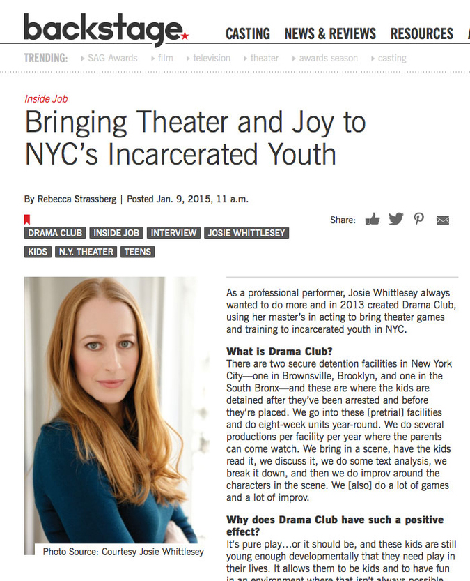 January 9 2015 / Backstage Magazine - Click here to read Backstage Magazine featuring our Executive Director, Josie Whittlesey.