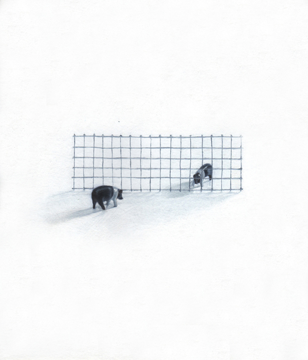 """Barrier,"" 20133, oil on paper, 9x10 in."