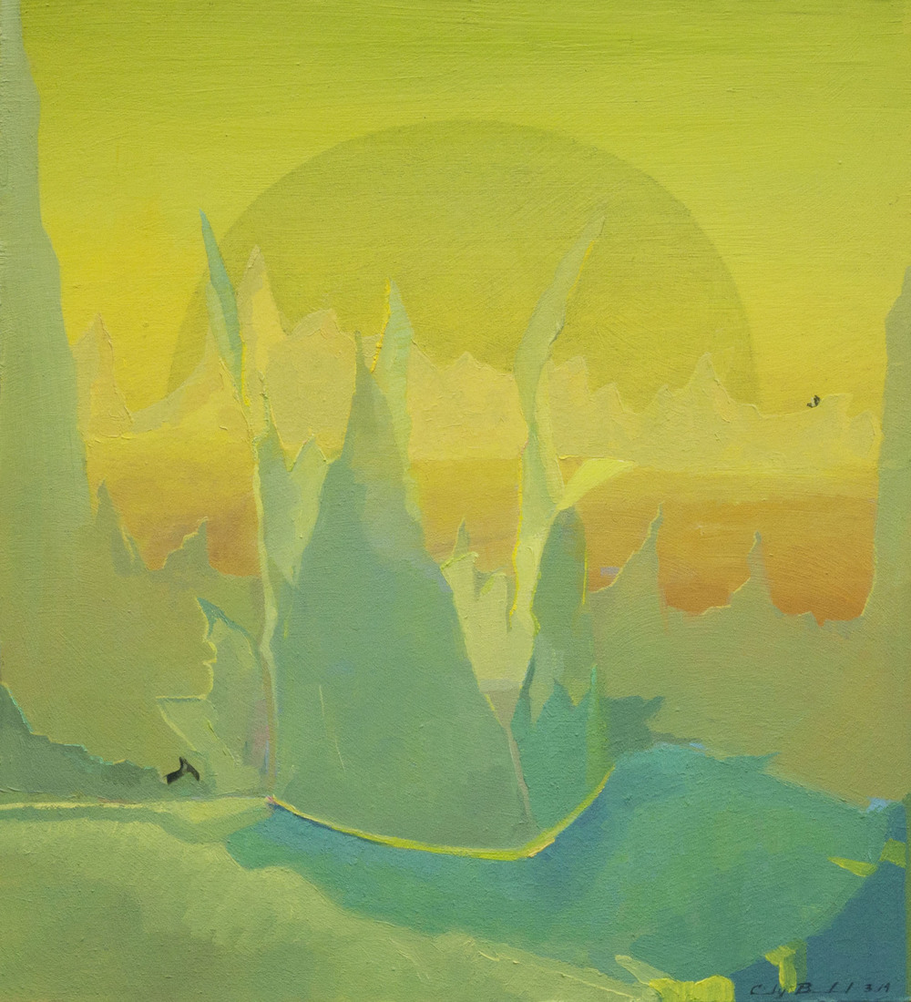 """Mountain Crown,"" 2014, oil on paper, 9x10 in."