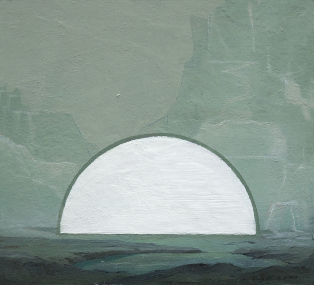 """White Moon,"" 2014, oil on paper, 10x9 in."