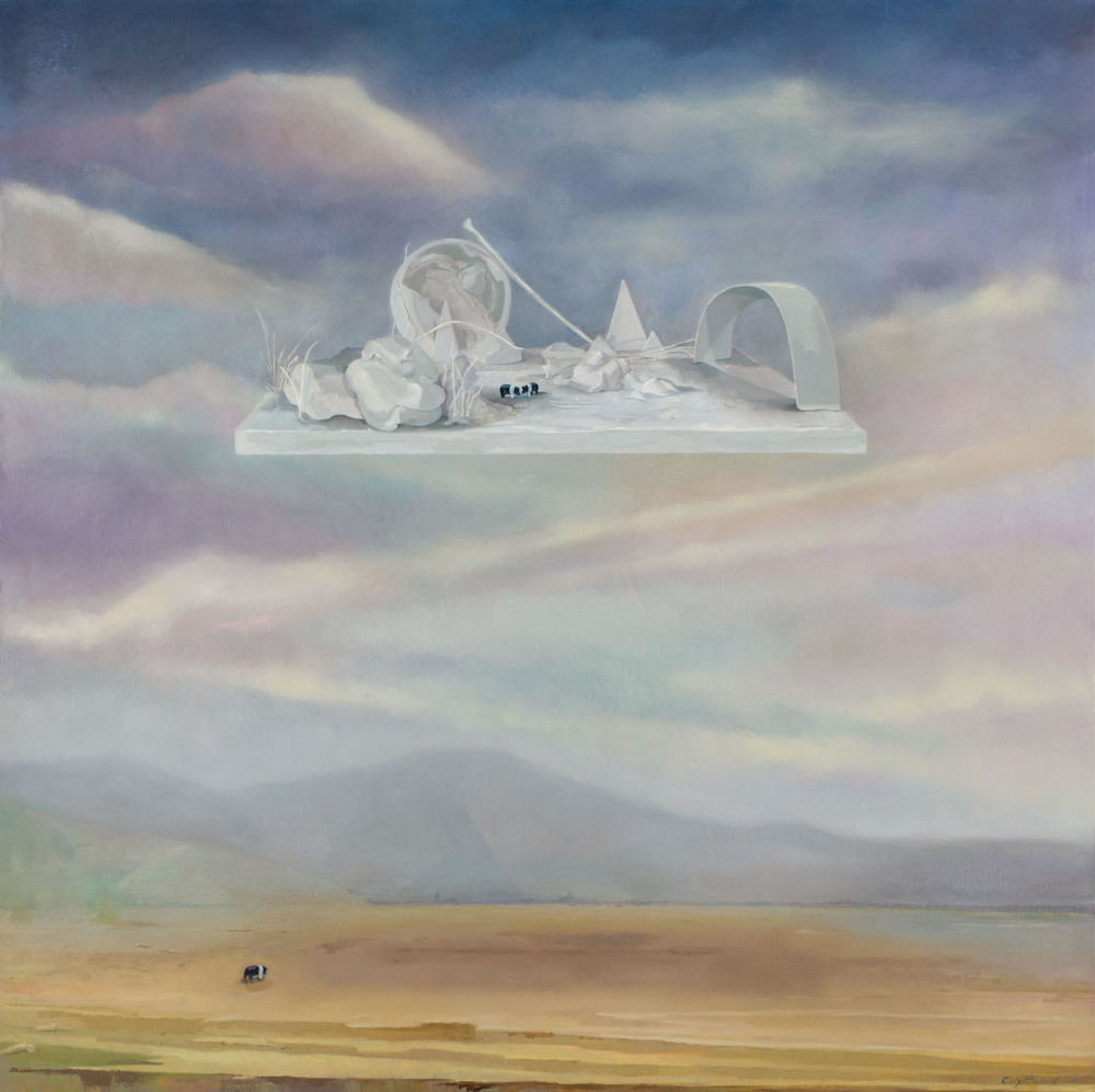 """Floating White Land,"" 2015, oil on canvas, 40x40 in."