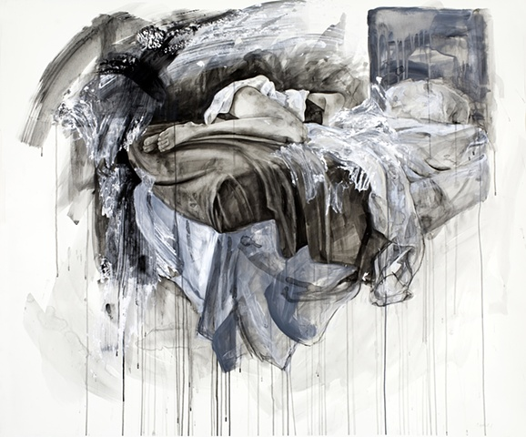 """Bed,"" 2011, watercolor and mixed media on paper, 44x53 in."