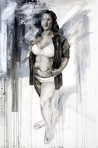 """Elizabeth"", 2011, watercolor and mixed media on paper, 75x54 in."