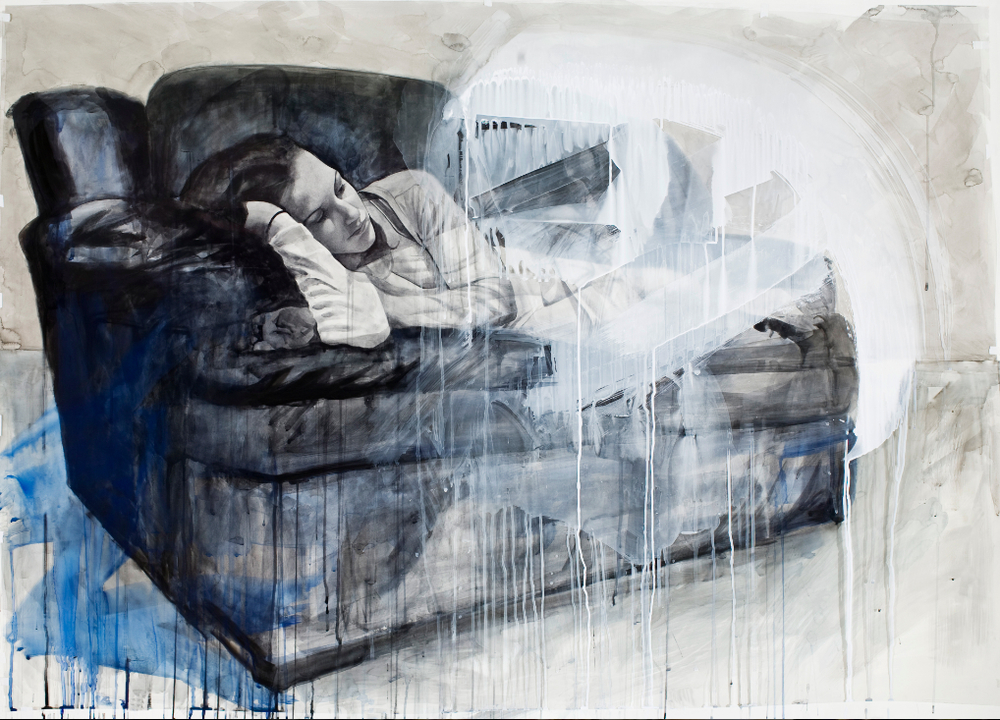 """Couch"", 2012, watercolor on paper and acetate, 44x61.5 in."