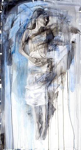 """Mother Blue"", 2012, watercolor on paper and acetate, 77x42 in."