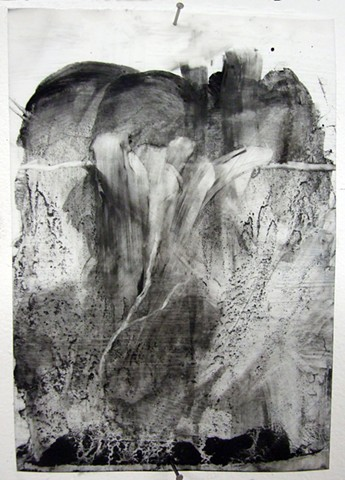 """Mother,"" 2012, charcoal and gesso on mylar"