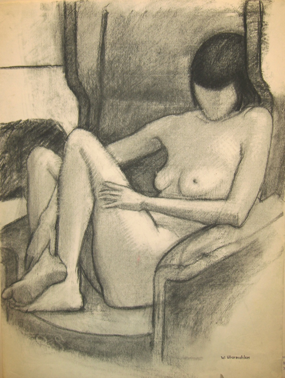 """Model in a Big Armchair,"" 1979, charcoal, 21x16 in."