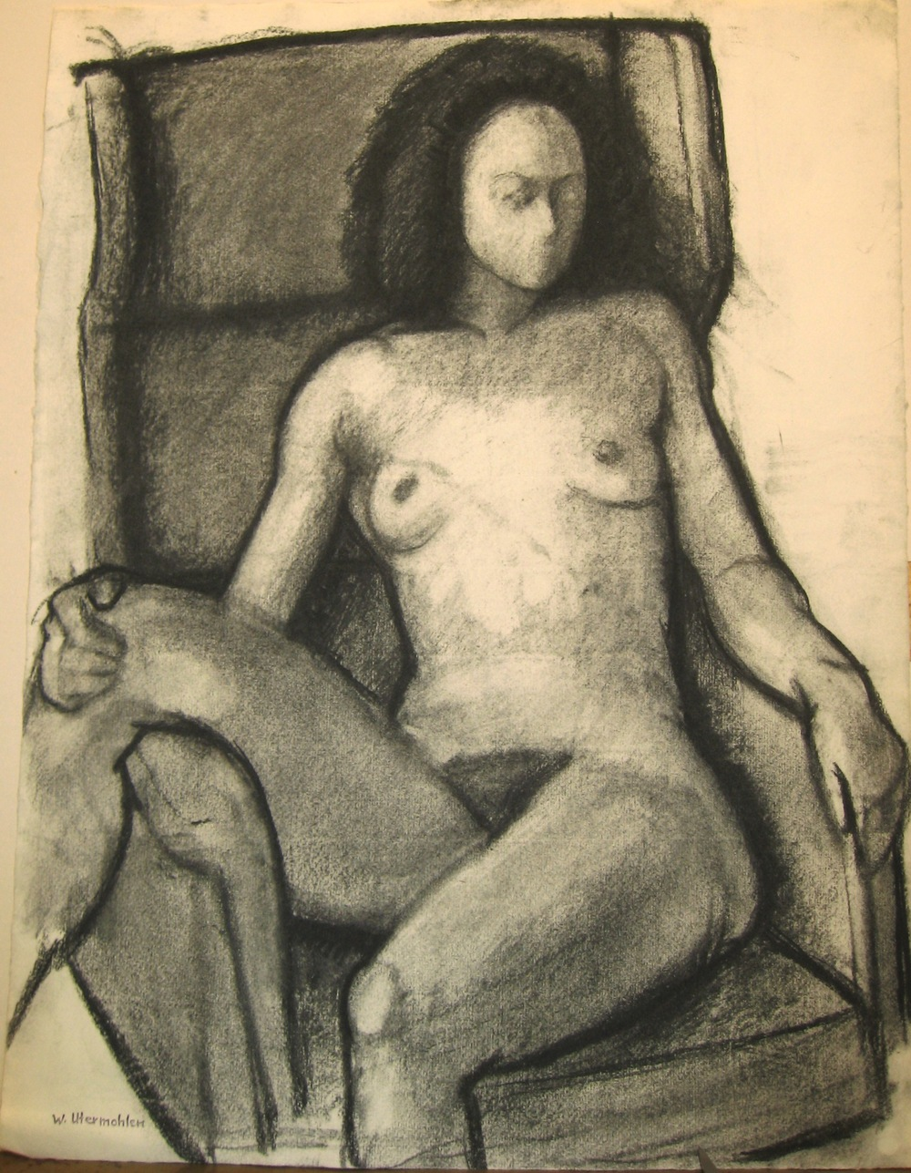 """Model in a Big Armchair 3,"" 1981, charcoal, 20.5x18 in."