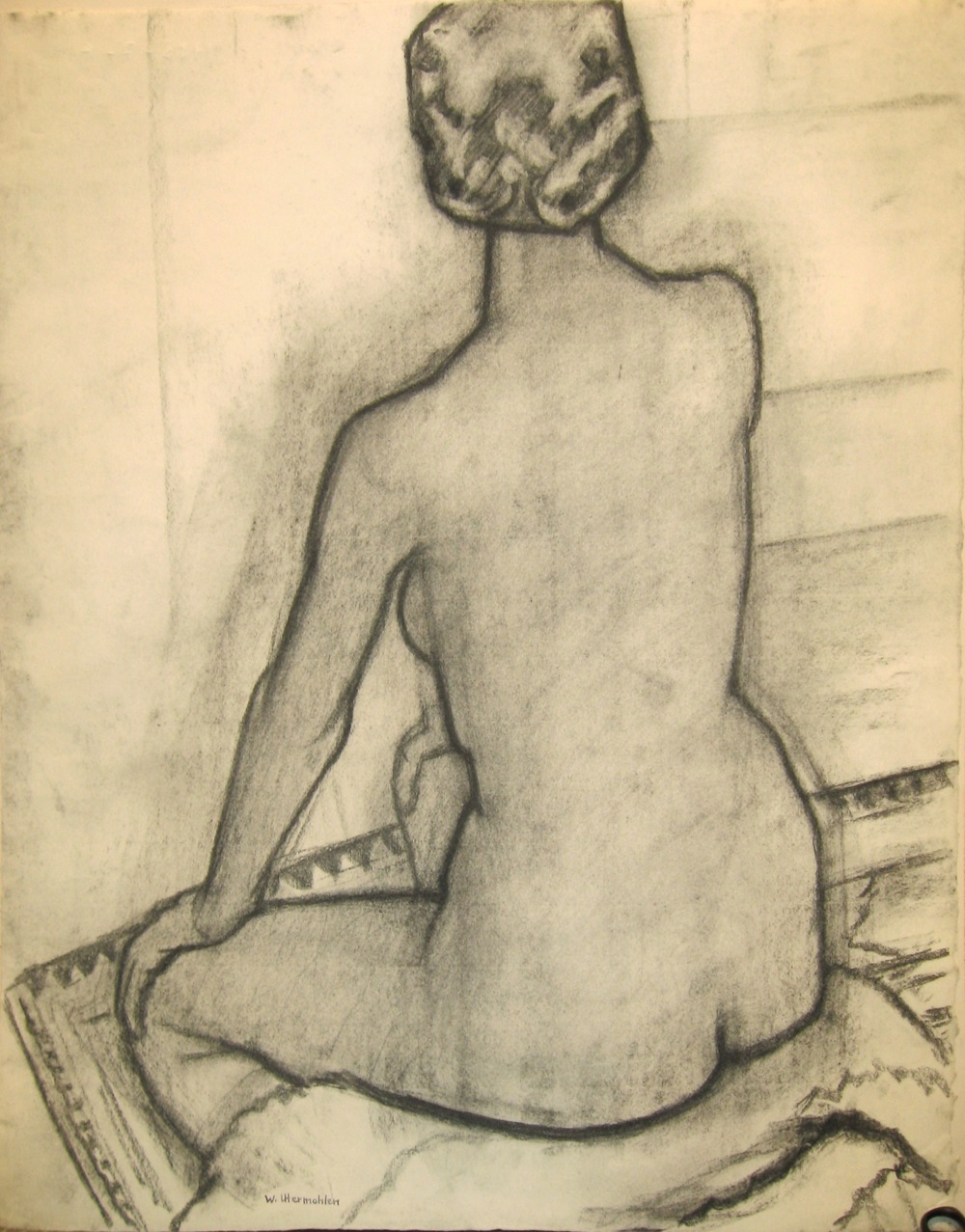 """Model's Back,"" 1983, charcoal, 26x20 in."