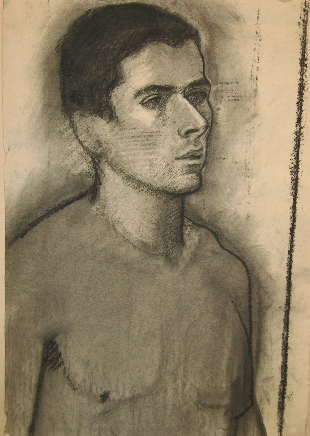 """Olivier 2,"" 1981, charcoal, 22x15 in."