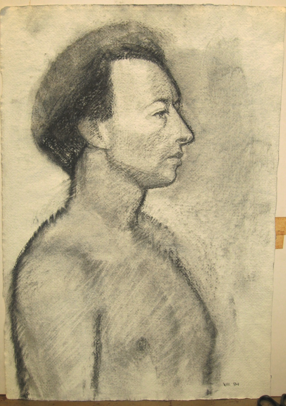 """Philippe,"" 1984, charcoal, 21x15 in."