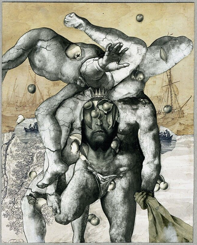 """Antaeus,"" 2015 collage on cut printed paper and india ink on paper, 9.25x7.25 in."