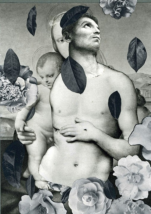"""La Familia Camillia,"" 2013, collage on paper, 9x6.5 in."