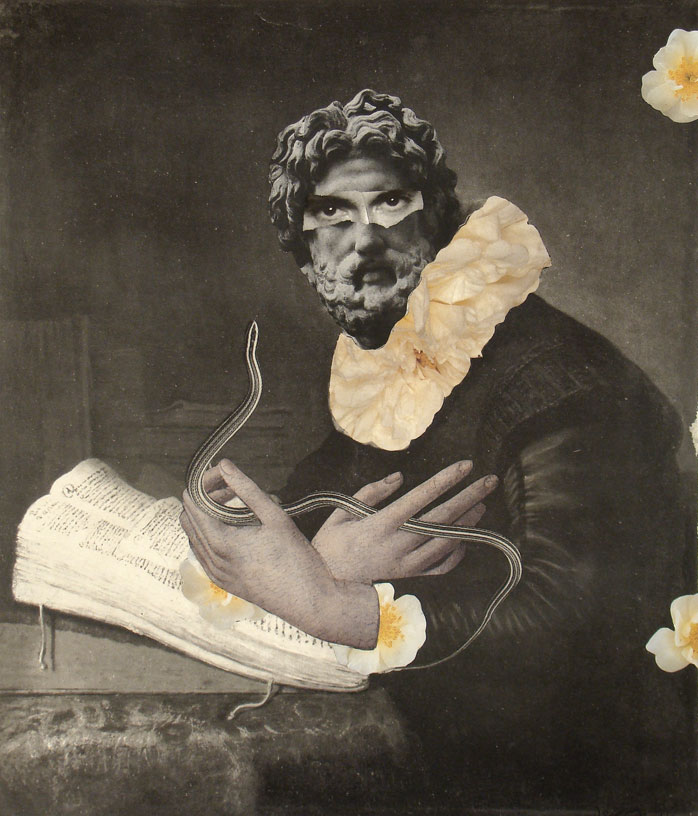 """The Herpetologist,"" 2012, collage on paper, 8.5x7 in."